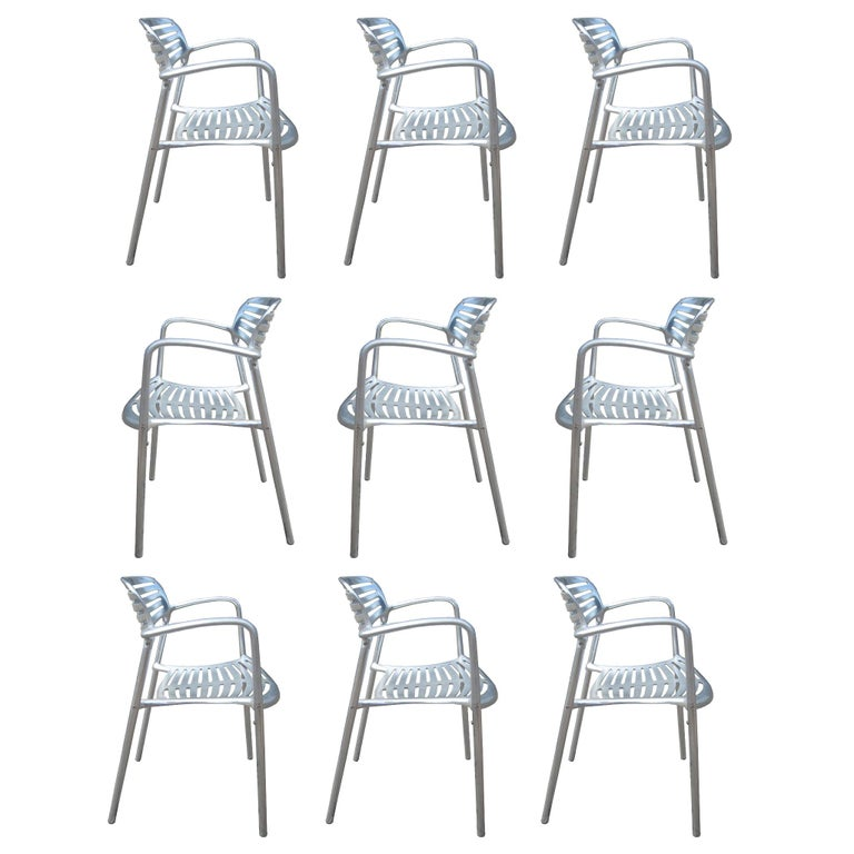 1 Restored Polished Aluminum Toledo Chair Designed by Jorge Pensi for Knoll For Sale