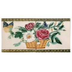 1 Set '2 Tiles' from the 17 Sets Art Nouveau Relief Tiles, Morialmé, 1900