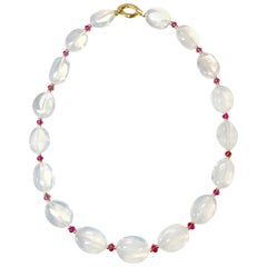 Goshwara Moon Quartz Tumble and Rubelite Bead Necklace