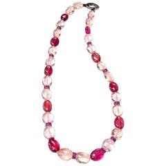 Goshwara Morganite and Rubelite Bead Necklace