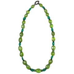 1 Strand Peridot & Emerald Tumble Beads Necklace