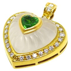 1 Tsavorite Set in a 18 Karat Yellow Gold Pendant with Rock Crystal and Diamonds