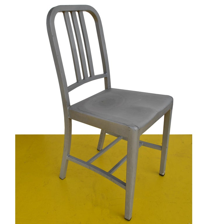 The Emeco navy aluminum chair, developed in collaboration with Alcoa in 1944, was designed for US Submarines. The navy utilized Emeco chairs because they are impervious to corrosion, non-magnetic, lightweight, fireproof and incredibly strong.