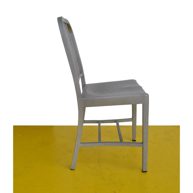 1 Vintage Emeco Side Chair in Brushed Aluminum For Sale 1