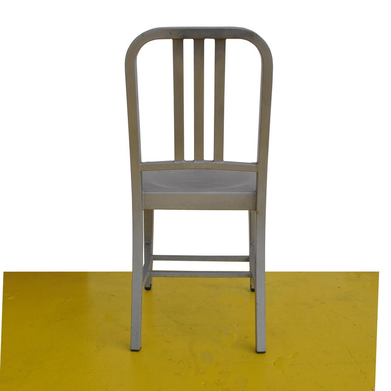 1 Vintage Emeco Side Chair in Brushed Aluminum For Sale 2