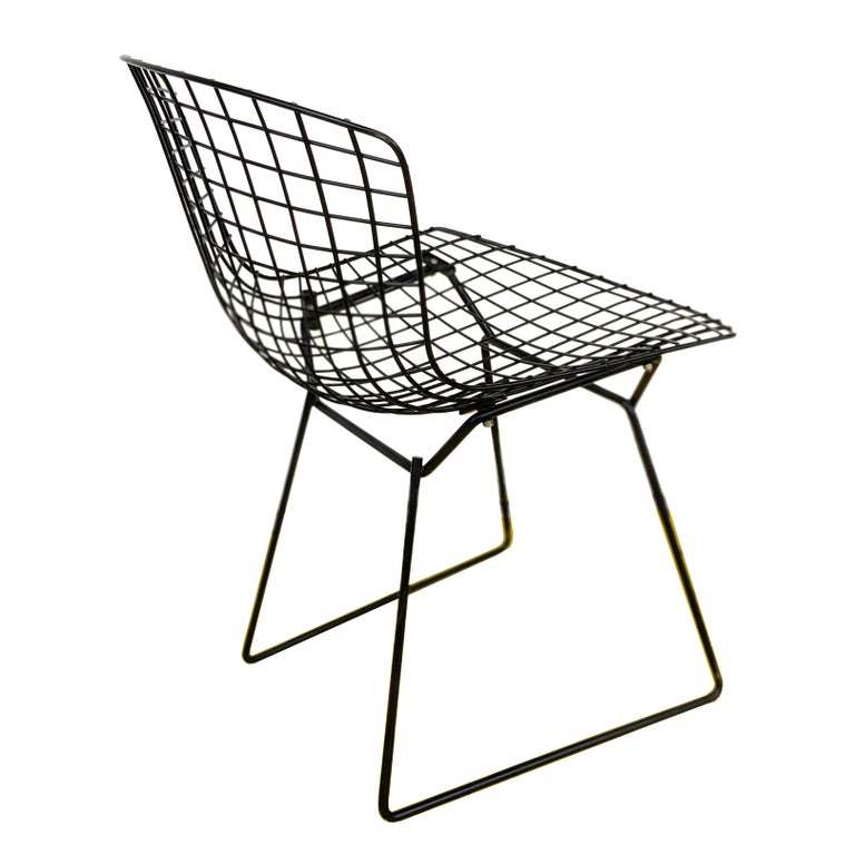 Mid-Century Modern 1 Vintage Harry Bertoia for Knoll Black Side Chair For Sale