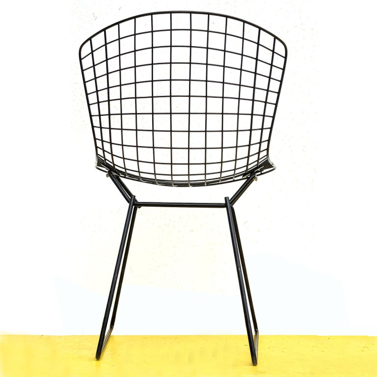 American 1 Vintage Harry Bertoia for Knoll Black Side Chair For Sale