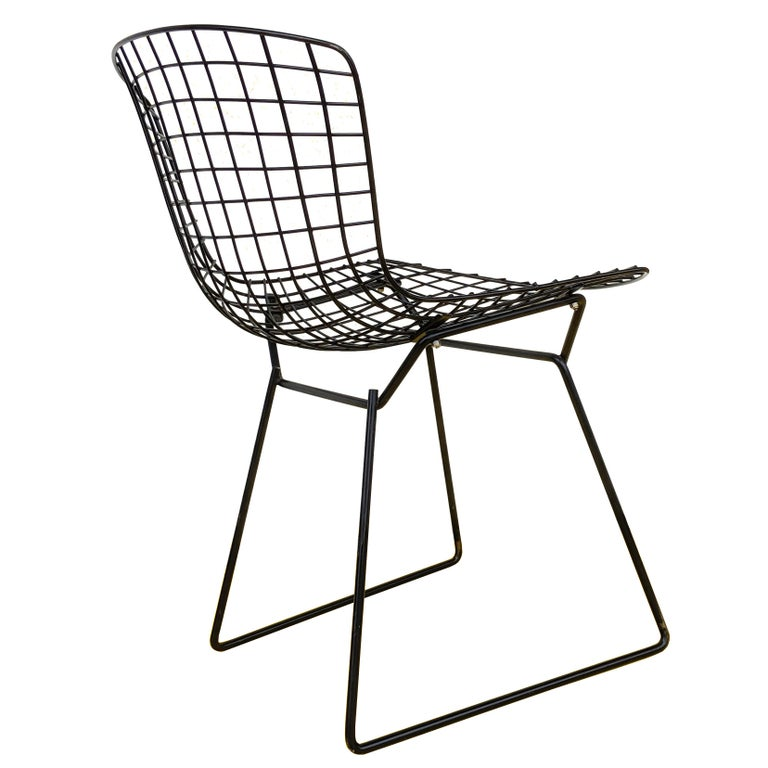 1 Vintage Harry Bertoia for Knoll Black Side Chair In Good Condition For Sale In Pasadena, TX