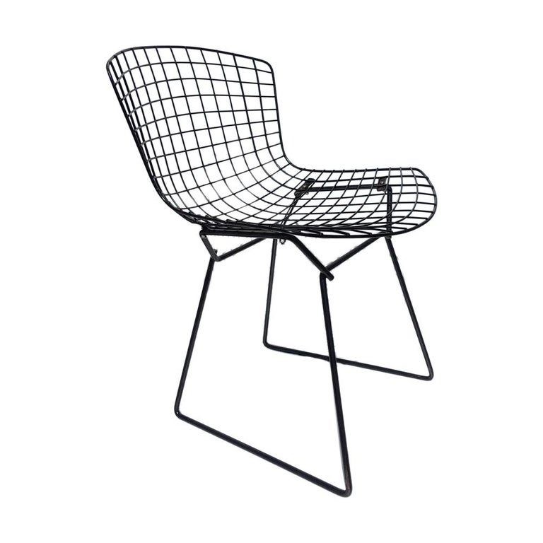1 Vintage Harry Bertoia for Knoll Black Side Chair For Sale