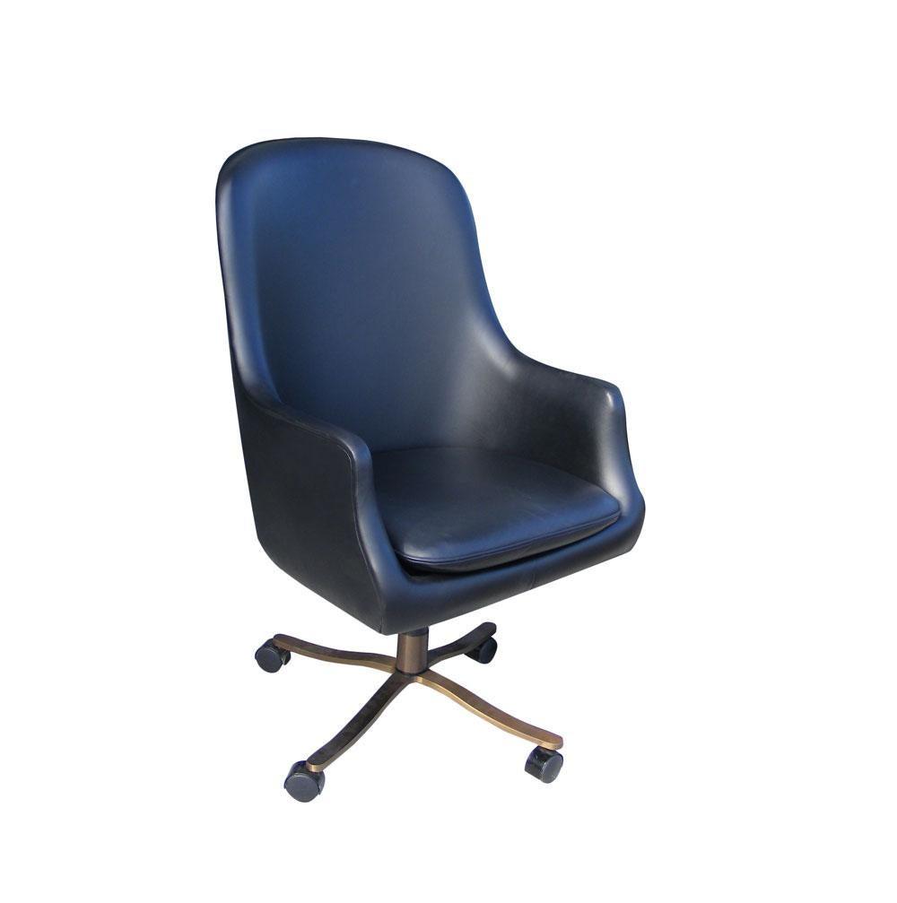 1 Vintage Midcentury Zographos Alpha Chair Black Leather Bronze Base