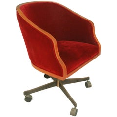 1 Ward Bennett Oak Mohair Bankers Executive Chair Bronze Base
