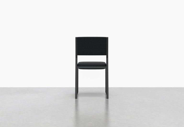 American 1 x 1 Upholstered Chair, Black Leather For Sale