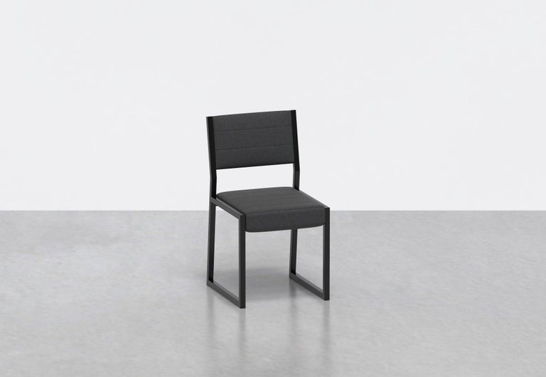Powder-Coated 1 x 1 Upholstered Chair, Black Leather For Sale