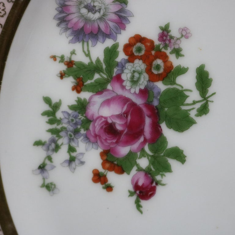 Gilt 10 Antique Bavarian Tirschenreuth Floral & Lace Porcelain Dinner Plates For Sale