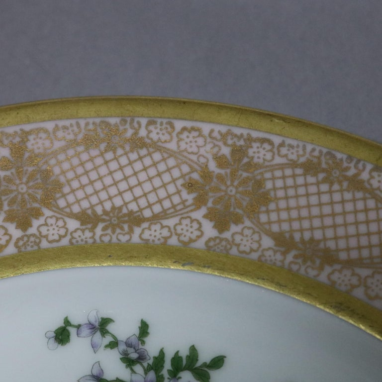 10 Antique Bavarian Tirschenreuth Floral & Lace Porcelain Dinner Plates In Good Condition For Sale In Big Flats, NY