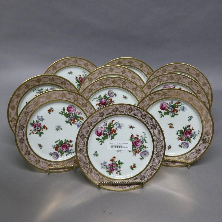 20th Century 10 Antique Bavarian Tirschenreuth Floral & Lace Porcelain Dinner Plates For Sale