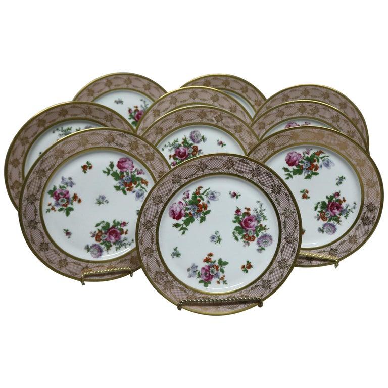 10 Antique Bavarian Tirschenreuth Floral & Lace Porcelain Dinner Plates For Sale