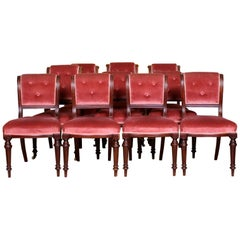 10 Antique Dining Chairs Mahogany 19th Century Victorian Pink Plum