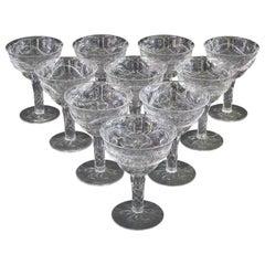 10 Antique Webb Hand-Cut Hollow-Stem Champagne Coupes