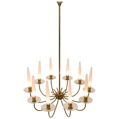 10-Arm Brass and Opaline Glass Chandelier by Angelo Lelii for Arredoluce