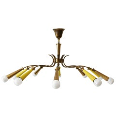 10-Armed Mid-Century Modern Sputnik Brass Chandelier or Ceiling Lamp, 1950s
