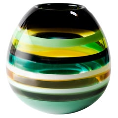 10 Banded Jade Barrel, Blown Glass by Siemon & Salazar