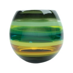 10 Banded Moss Green Hand Blown Glass Barrel Vase - Available Now