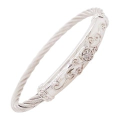 .10 Carat '1/10 Carat' Diamond Twisted Cable Bangle Bracelet in Sterling Silver