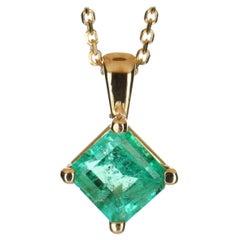 1.0 Carat 14k Colombian Emerald, Emerald Cut Solitaire Gold Pendant