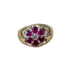 1.0 Carat, 7 Stone Ruby & Diamond Traditional Men's Ring 14 Karat Y Gold Ring