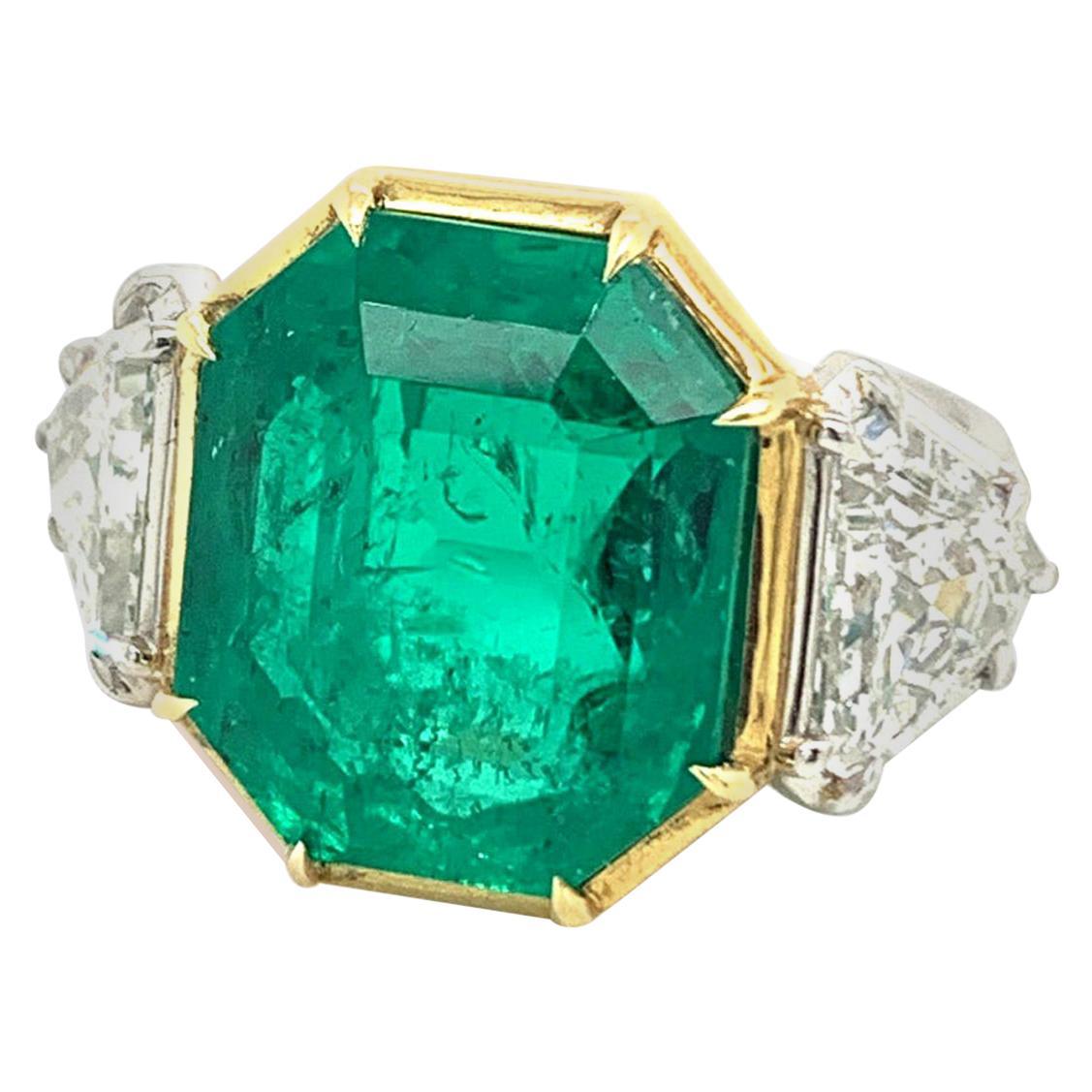 10 Carat AGL Certified Colombian Emerald Diamond Platinum Ring