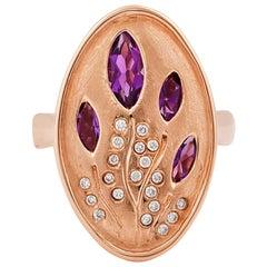 1.0 Carat Amethyst and Diamond Ring in 14 Karat Rose Gold