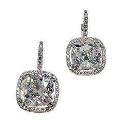 10 Carat Antique Cut Cushion Diamond Earrings in Platinum, GIA