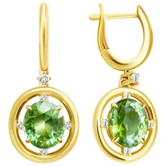 10 Carat Apple Green Mint Tourmaline 14 Karat Yellow Gold Earrings