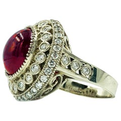 10 Carat Cabochon Ruby Ring with Diamonds 14 Karat Gold
