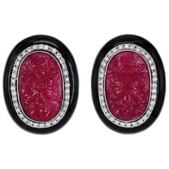 10 Carat Carved Ruby Onyx and Diamond Vintage Earring