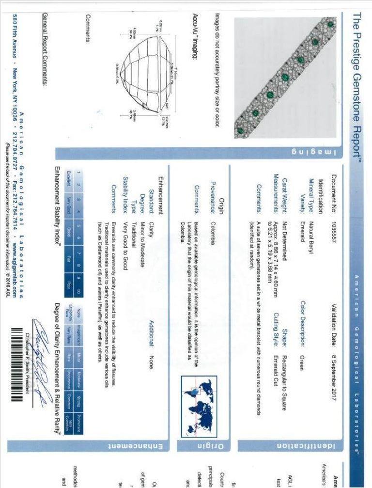 10 Carat Columbian Emerald Bracelet in Platinum AGL Certified 20 Carat 1920s Era For Sale 5