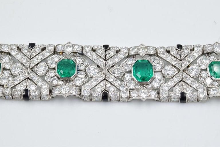 Emerald Cut 10 Carat Columbian Emerald Bracelet in Platinum AGL Certified 20 Carat 1920s Era For Sale