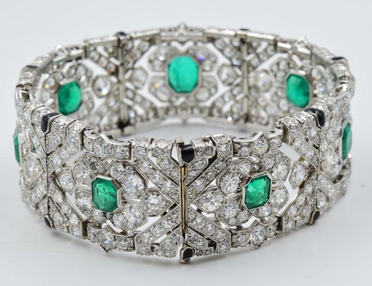 10 Carat Columbian Emerald Bracelet in Platinum AGL Certified 20 Carat 1920s Era For Sale 3