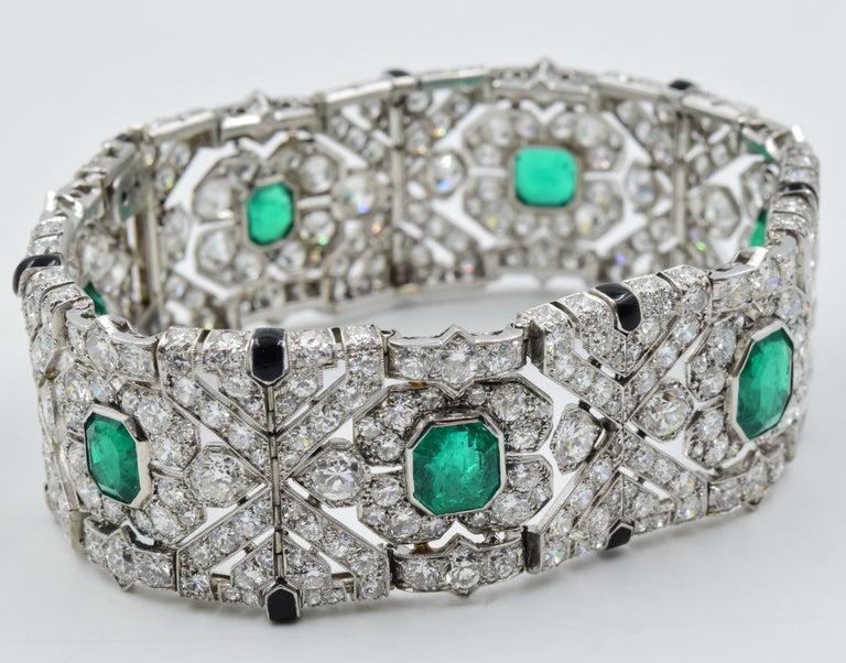 10 Carat Columbian Emerald Bracelet in Platinum AGL Certified 20 Carat 1920s Era For Sale 4