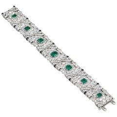 10 Carat Columbian Emerald Bracelet in Platinum AGL Certified 20 Carat 1920s Era