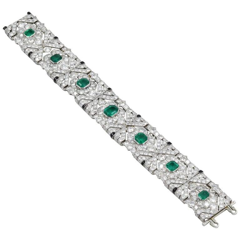 10 Carat Columbian Emerald Bracelet in Platinum AGL Certified 20 Carat 1920s Era For Sale
