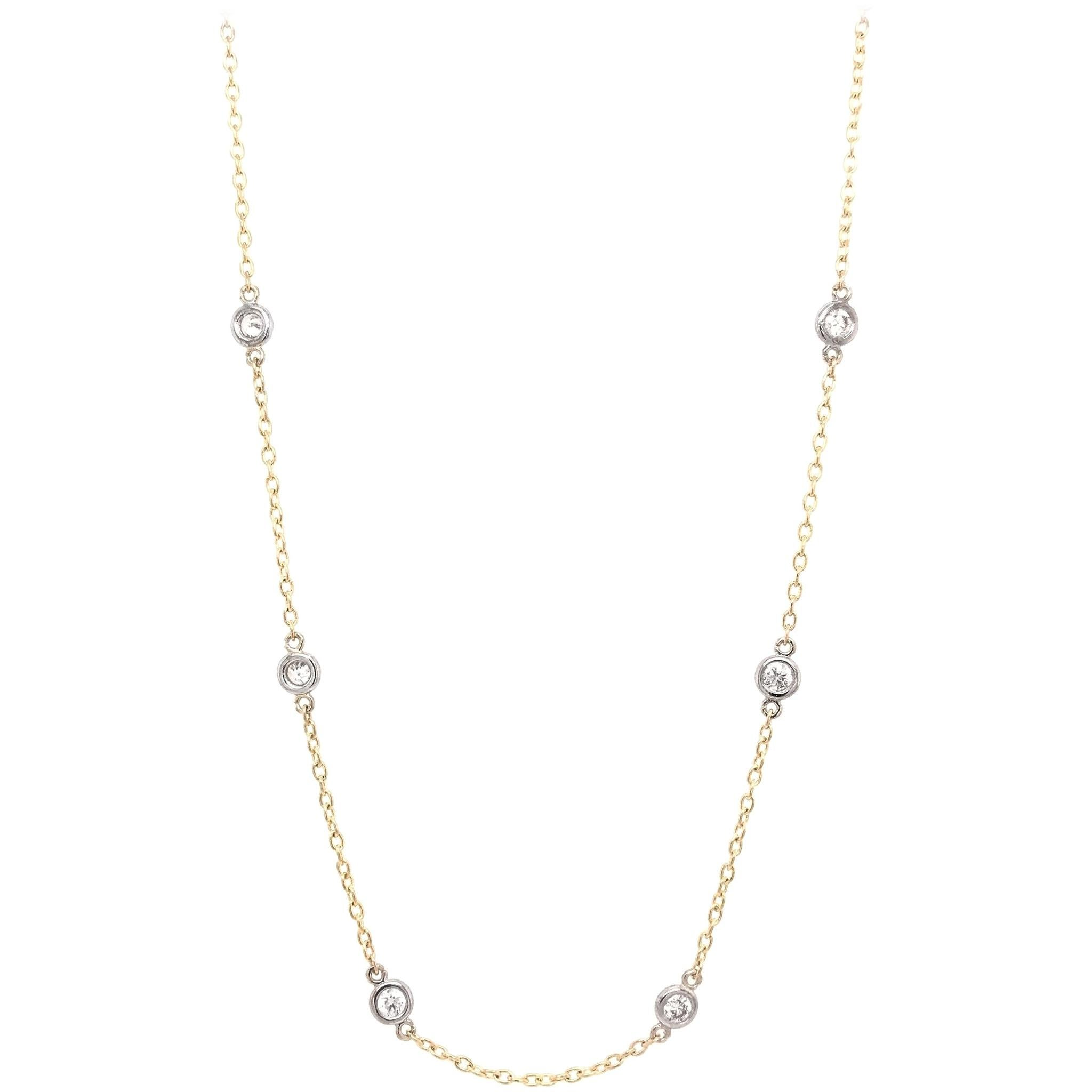 """1.0 Carat CTW Diamond """"By The Yard"""" Style Necklace"""