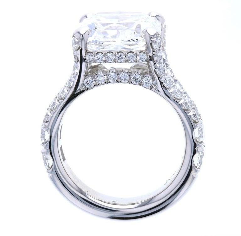 Modern 10 Carat Cushion Cut Diamond Engagement Ring Platinum Hidden Halo For Sale