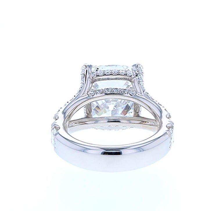 10 Carat Cushion Cut Diamond Engagement Ring Platinum Hidden Halo In New Condition For Sale In Los Angeles, CA