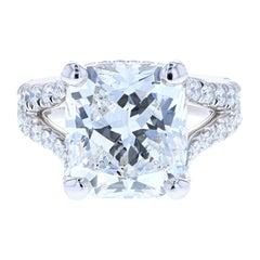 10 Carat Cushion Cut Diamond Engagement Ring Platinum Hidden Halo