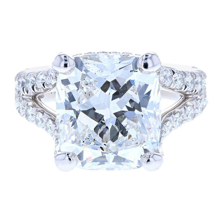 10 Carat Cushion Cut Diamond Engagement Ring Platinum Hidden Halo For Sale