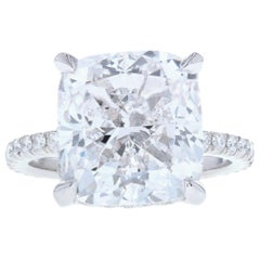 10 Carat Cushion Cut Diamond Engagement Ring with Diamond Pave and Hidden Halo