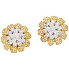 10 Carat Diamond and Two-Tone Gold Clip-On Earrings