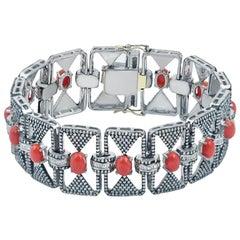 10 Carat Diamond Bracelet with Red Corals